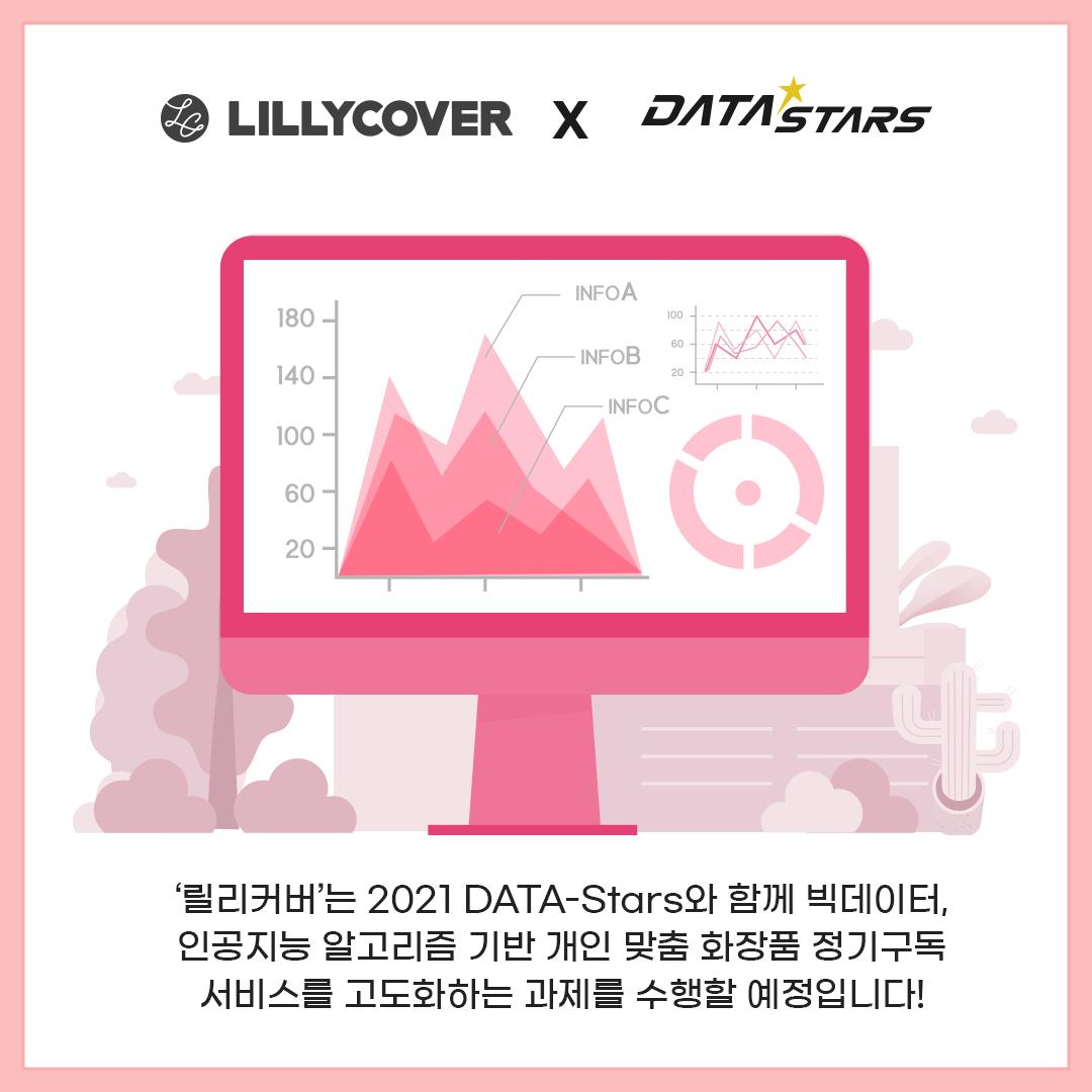 '릴리커버'는 2021 DATA-Stars와 함께 빅데이터, 인공지능 알고리즘 기반 개인 맞춤 화장품 정기구독 서비스를 고도화하는 과제를 수행할 예정입니다!
