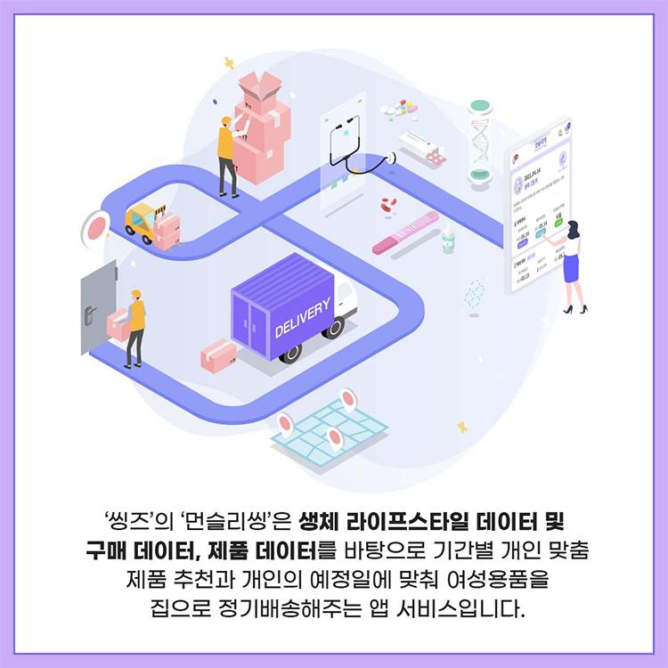 '씽즈' 의 '먼슬리씽'은 생체 라이프스타일 데이터 및 구매 데이터, 제품 데이터를 바탕으로 기간별 개인 맞춤 제품 추천과 개인의 예정일에 맞춰 여성용품을 집으로 정기배송해주는 앱 서비스입니다.
